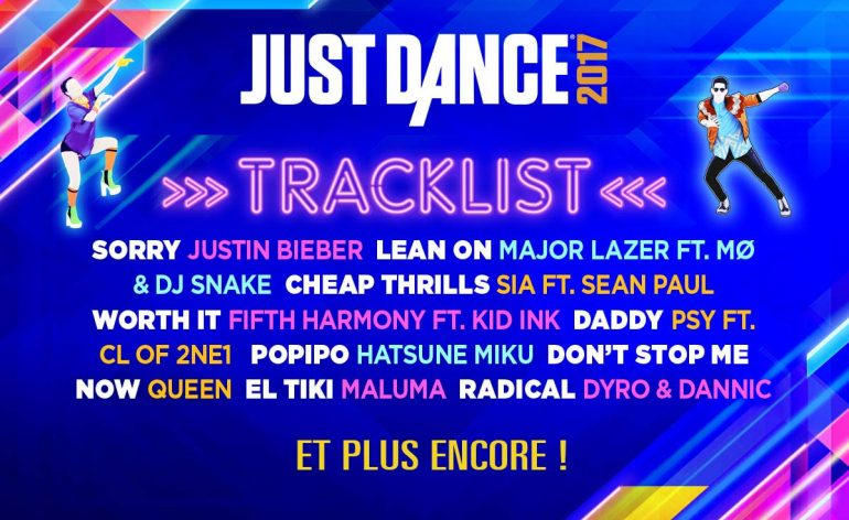 Track list, liste de musiques de Just Dance 2017