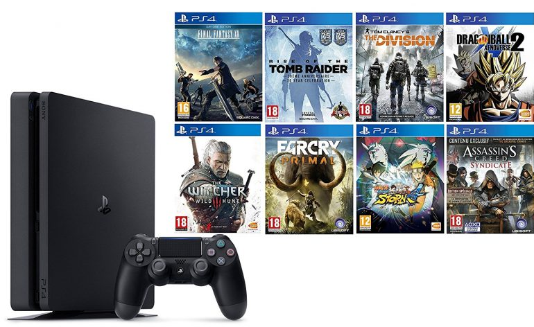 pack ps4 slim avec 8 jeux dont xenoverse 2 et ff 15 173 euros de r duction m j le mag. Black Bedroom Furniture Sets. Home Design Ideas