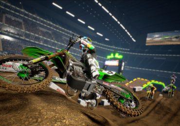 Image tirée du jeu Monster Energy Supercross 3 d'une moto en plein saut