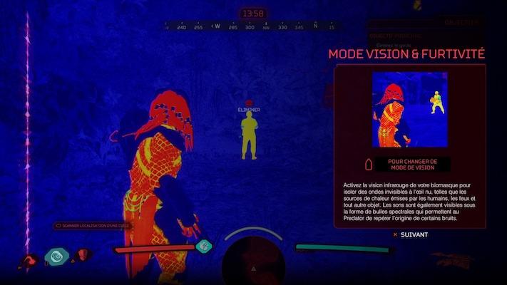 Le Predator utilisant sa vision infrarouge