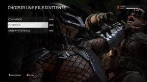 Predator Hunting Grounds : Le menu précédant le début d'une partie, avec les inscriptions des temps d'attente