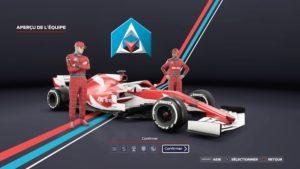 F1 2020 : Le menu du création du mode My Team