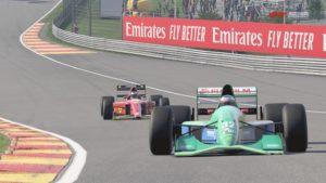 La Jordan 191 de Michael Schumacher sur le circuit de Spa-Francorchamps