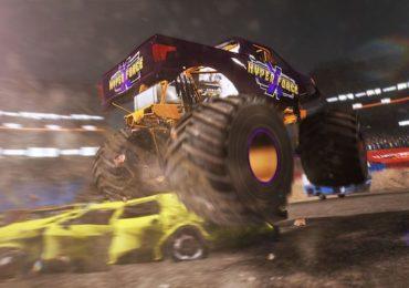 Monster Truck Championship : Image tirée du jeu d'un monster truck écrasant une voiture (crédit photo : Twitter - @MonsterTruck_C)