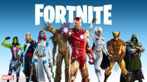 Les personnages Marvel dans une affiche Fortnite