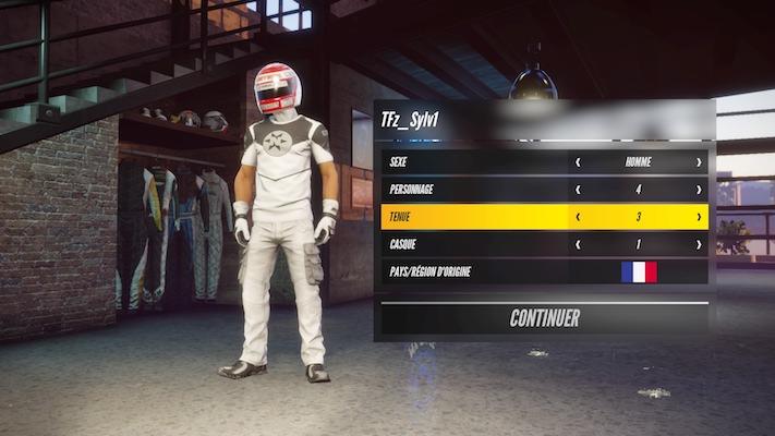 Menu de personnalisation du pilote dans le jeu