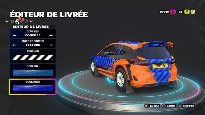 Menu de création de son véhicule