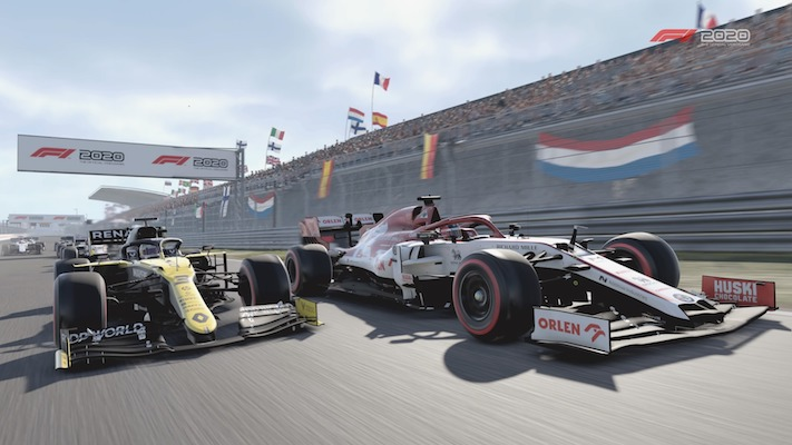 Jarno Opmeer dans son Alfa Romeo et une Renault côte à côte à Zandvoort dans F1 2020