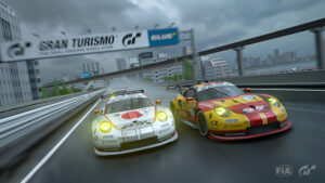 Gran Turismo : Takuma Miyazono et Jose Serrano au coude-à-coude à Tokyo (photo de Clive Rose - Gran Turismo/Gran Turismo via Getty Images)