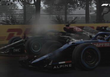 Une Alpine et une Mercedes sous la pluie au Canada lors de notre test de F1 2021