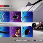 Le menu de sélection des articles dans F1 2021